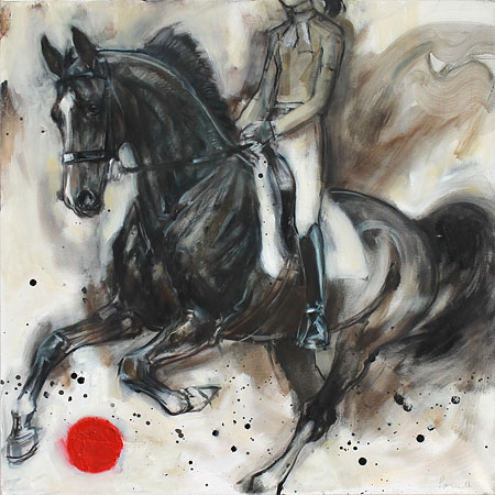 Rosemary Parcell nz horse artist, uphill canter, oil on canvas